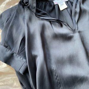 Flowy Black Collared V-Neck Shirt Dress